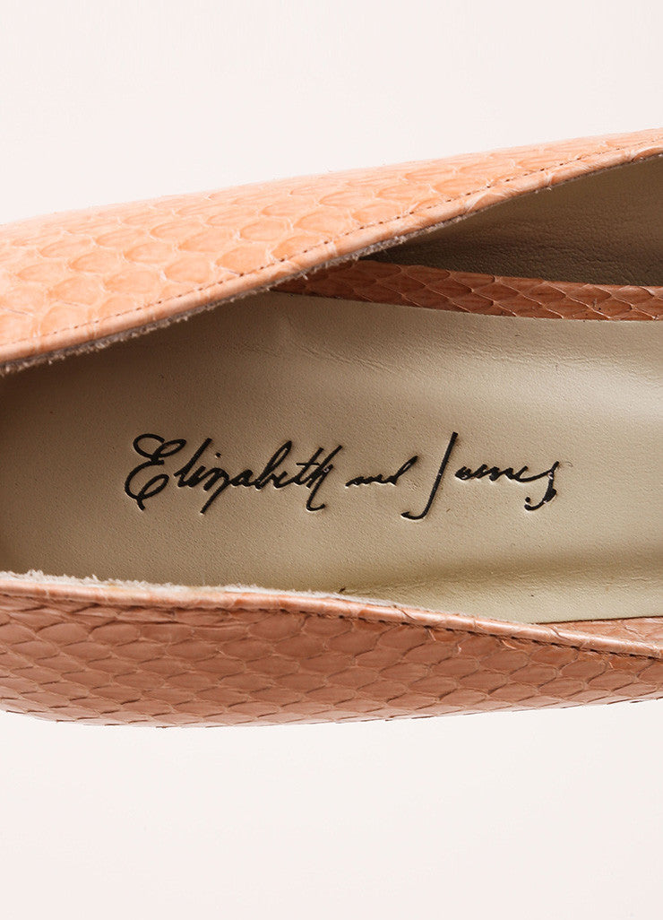 "Elizabeth and James ""Blush"" Pink Snake Embossed Leather ""Mason"" Pumps Brand"