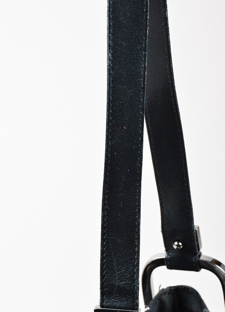 Black Gucci Canvas Leather Monogram Print Structured Hobo Bag Detail 2
