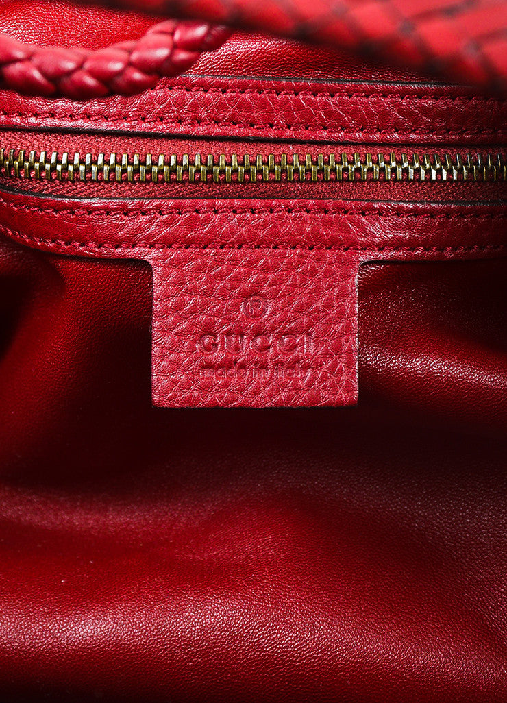 "Gucci Red Leather ""Hip"" Oversized Braided Handle Hobo Bag Brand"