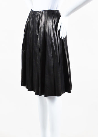 Black Gucci Leather Crinkled Pleated Circle Skirt Front
