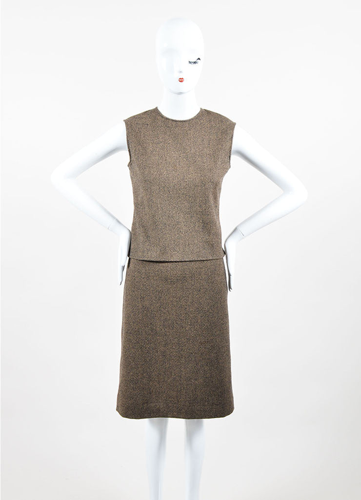 Brown and Cream Hermes Wool and Cashmere Patterned Shell Top and Pencil Skirt Set Frontview