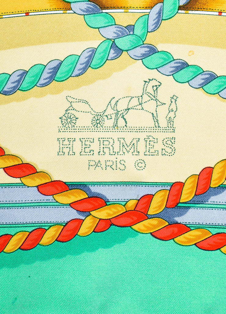 "Hermes Green, Blue, and Gold Silk ""Grande Tenue"" Dragon Crown Buckle Print Scarf Brand"