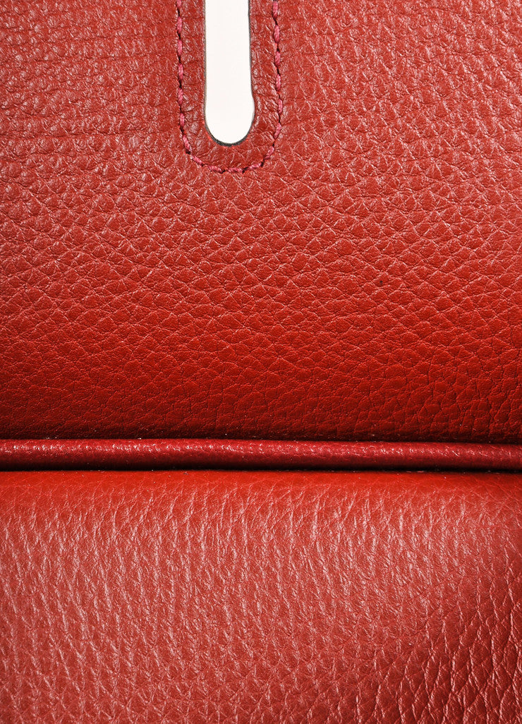 "Hermes Red ""Rouge H"" and Silver Toned Clemence Leather 42cm Shoulder Birkin Bag Detail 7"