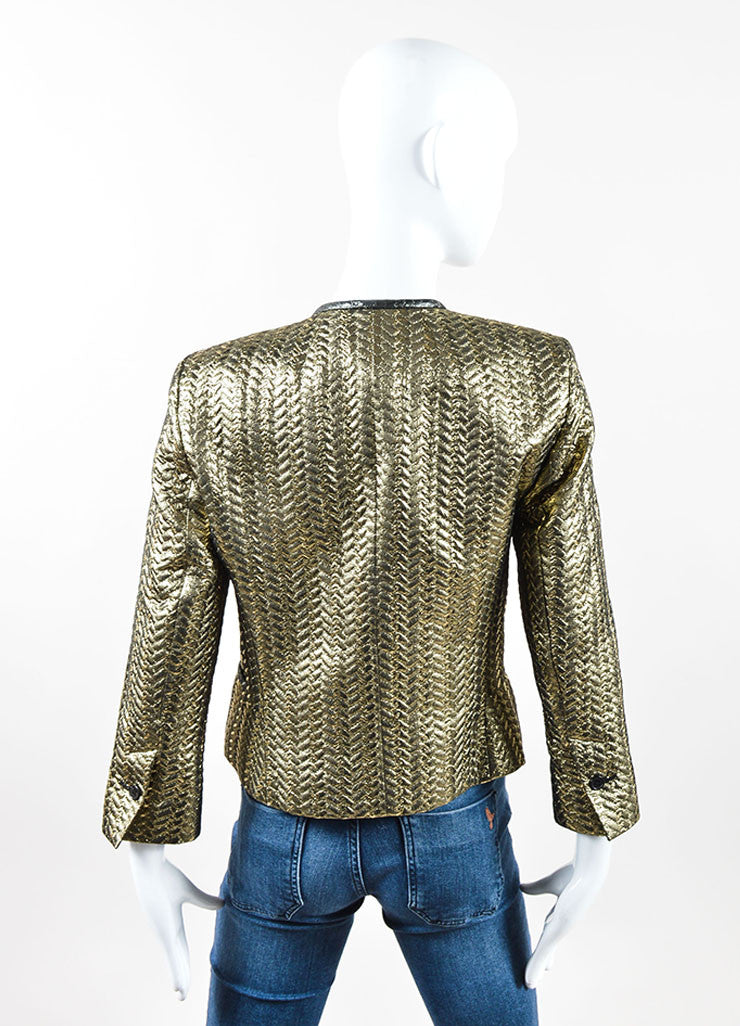 Isabel Marant Metallic Gold Quilted Three Quarter Sleeve Jacket Backview
