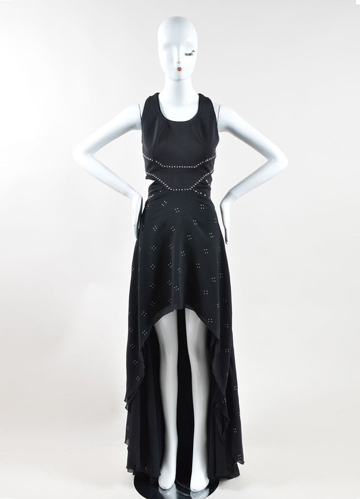 Jay Ahr Black Silver Tone Studded S/L Cut Out High Low Gown Frontview