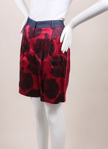 "Jonathan Saunders New With Tags Pink and Navy Satin Floral Print ""Jolita' Shorts Sideview"