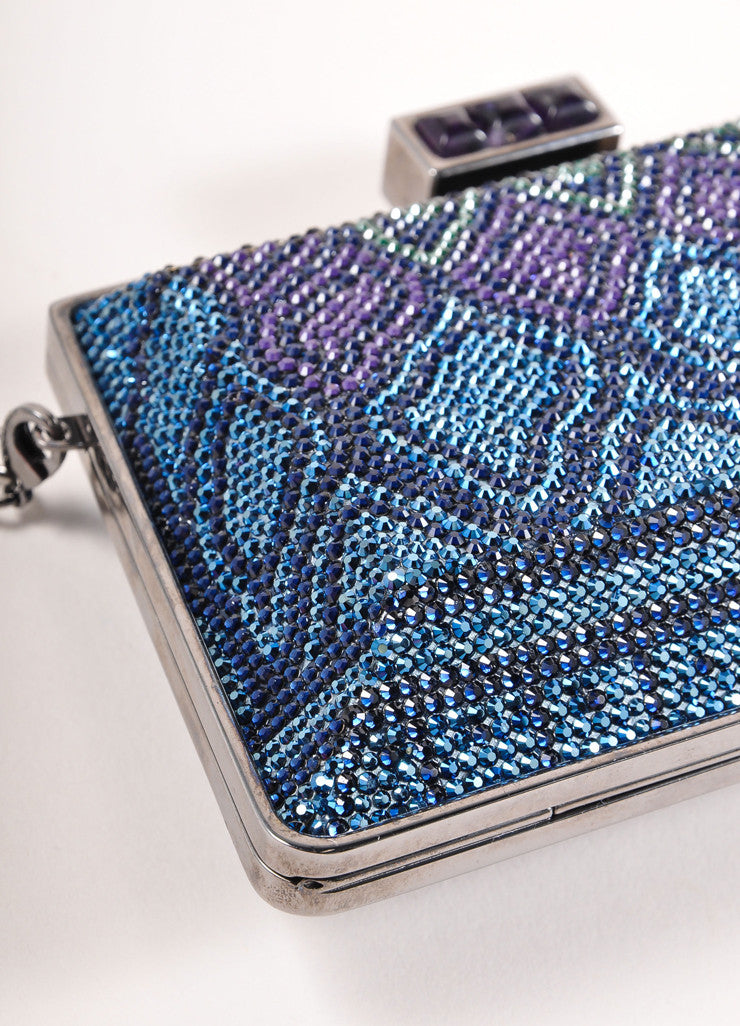 Judith Leiber New With Tags Blue, Purple, and Green Crystal Encrusted Minaudiere Clutch Bag Detail