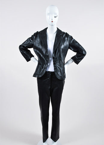 Just Cavalli Black Leather Pant Suit  Frontview