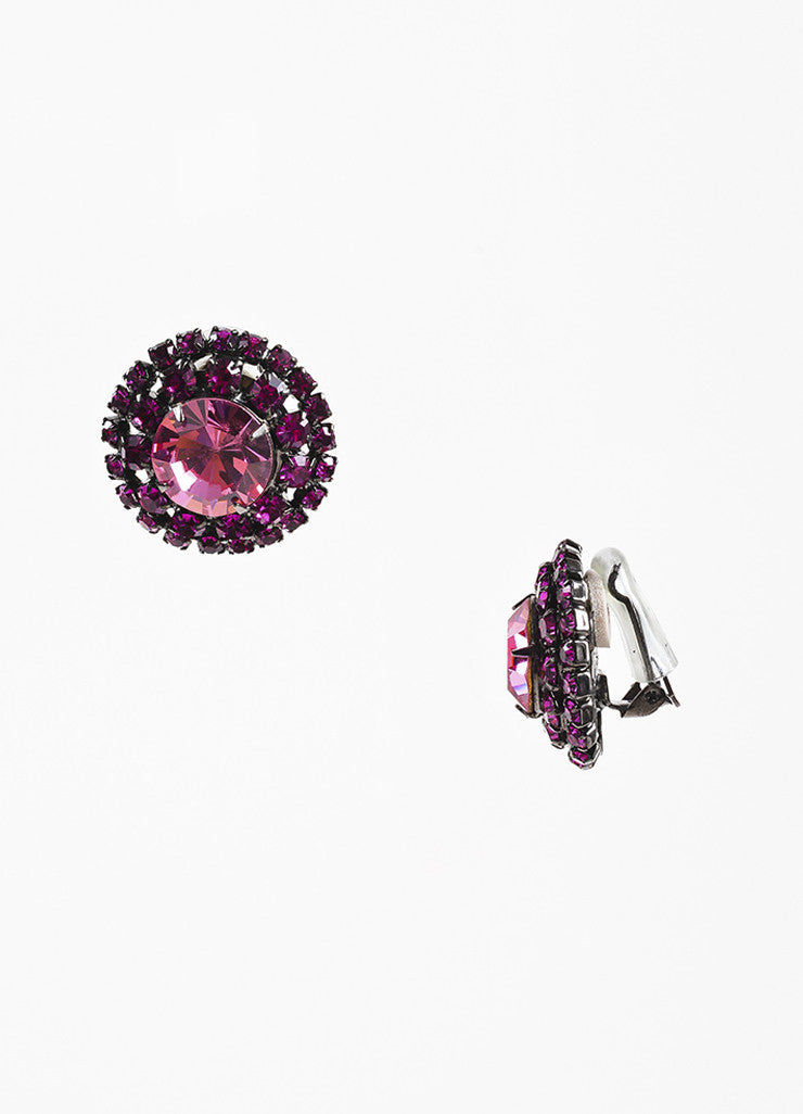 Pink Crystal Lawrence Vrba Embellished Round Clip On Earrings Detail