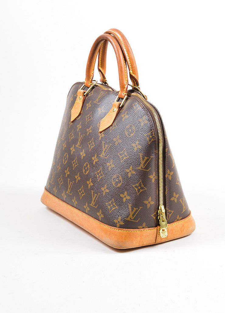 "Brown Louis Vuitton Monogram ""Alma PM"" Zip Satchel Bag Side"