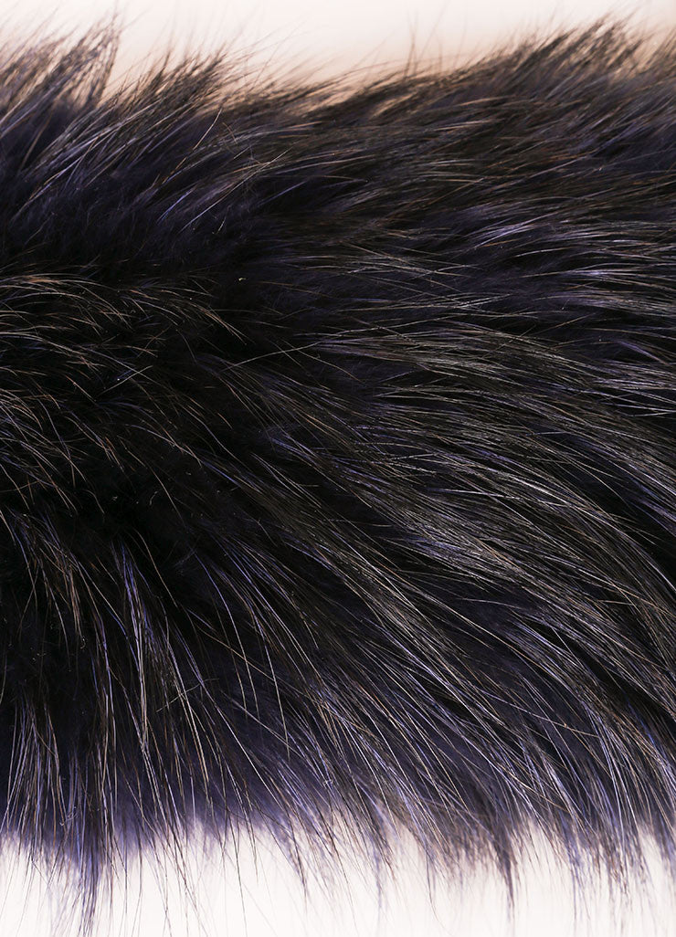 Marc Jacobs Navy Blue Raccoon Fur Scarf Collar Detail