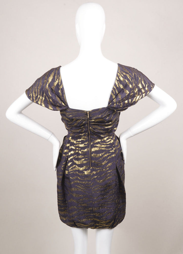 3.1 Phillip Lim Purple and Gold Silk Blend Animal Print Pleated Cap Sleeve Dress Backview
