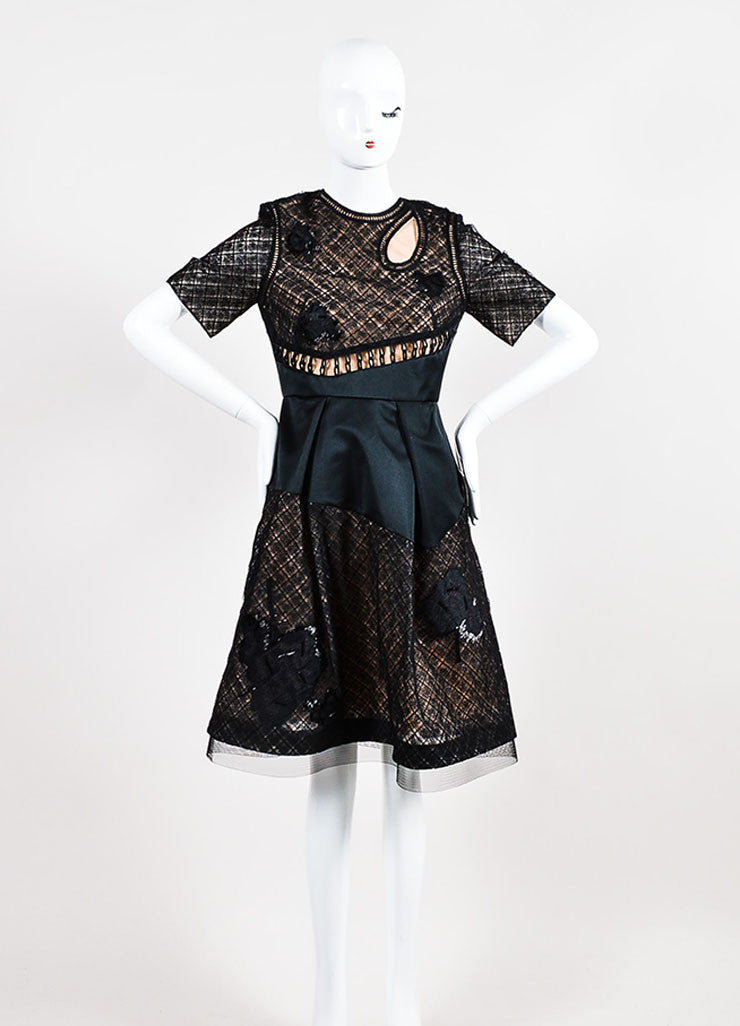 Black Prabal Gurung Silk Lace Beaded Flounce Dress Front 2