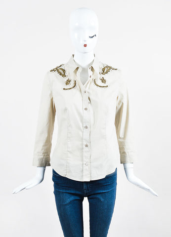 Beige Prada Stretch Cotton Gold Sequin Embellished Long Sleeve Button Up Shirt Frontview