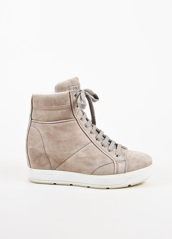 Prada Grey Suede White Leather Trim Lace Up Platform High Top Sneakers Sideview