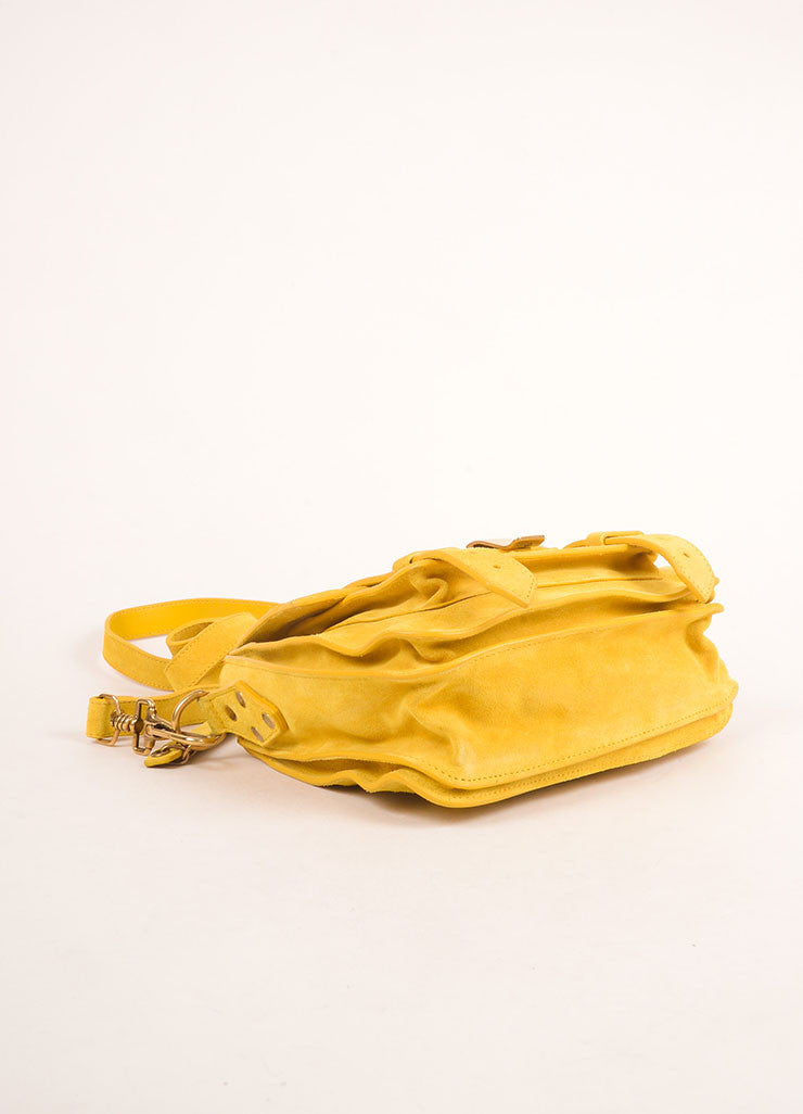 "Proenza Schouler Dark Yellow Suede ""PS1"" Small Messenger Crossbody Bag Bottom View"
