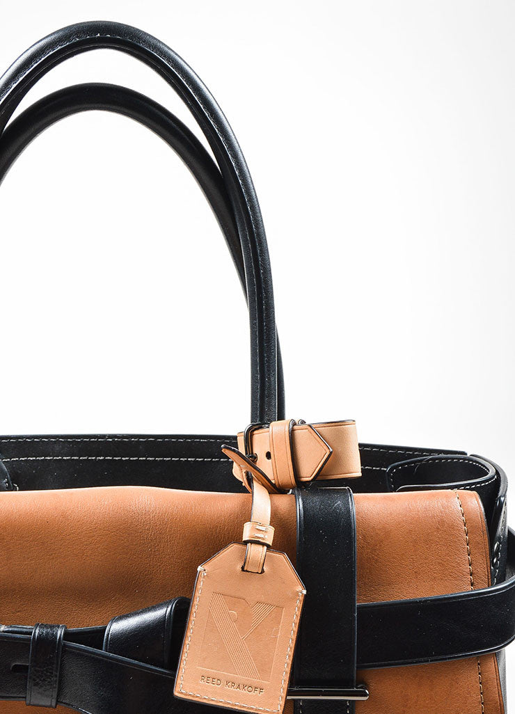 Black, Beige, and Tan Reed Krakoff Leather Boxer Bag Detail 3