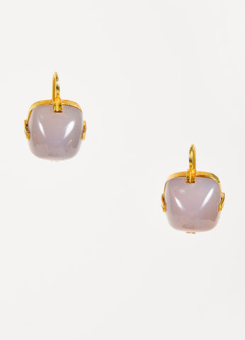 Renee Lewis 18K Yellow Gold Chalcedony Square Drop Earrings Front