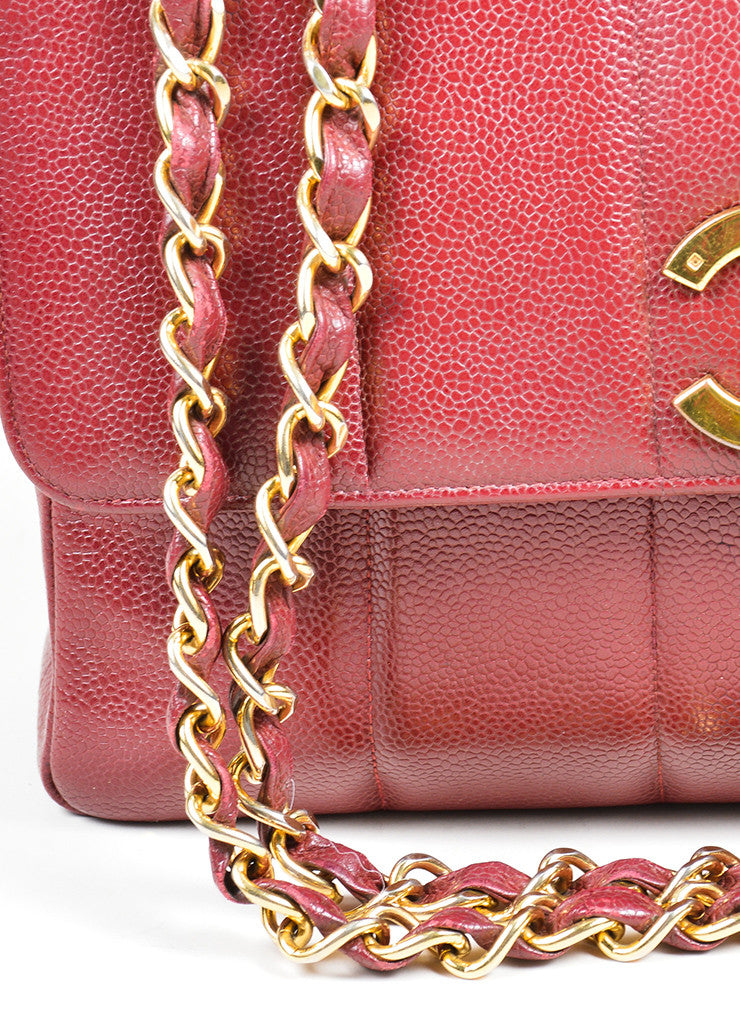 Maroon Chanel Caviar Leather Turnlock Jumbo Flap Bag Detail 2