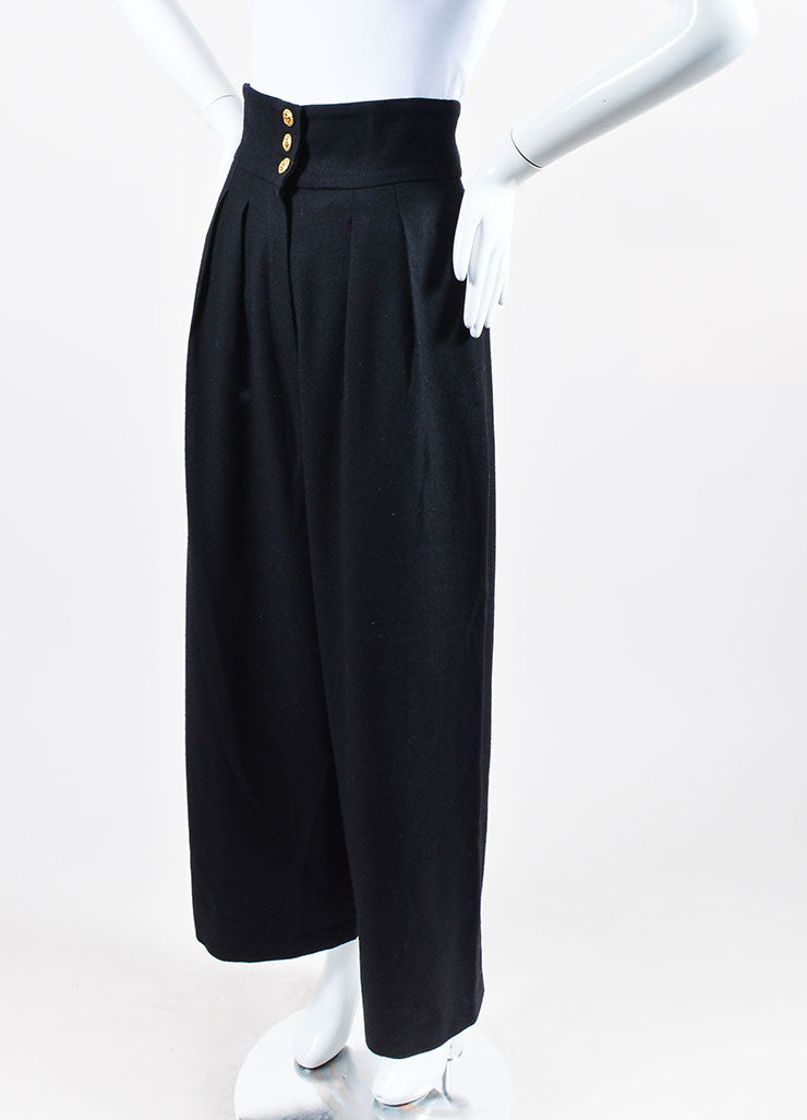 Black Chanel Wool High Waisted Wide Leg Sailor Pants Sideview