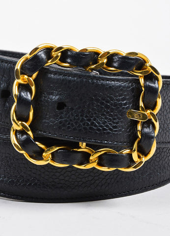 Black and Gold Toned Chanel Caviar Leather Interwoven Chain Belt Detail