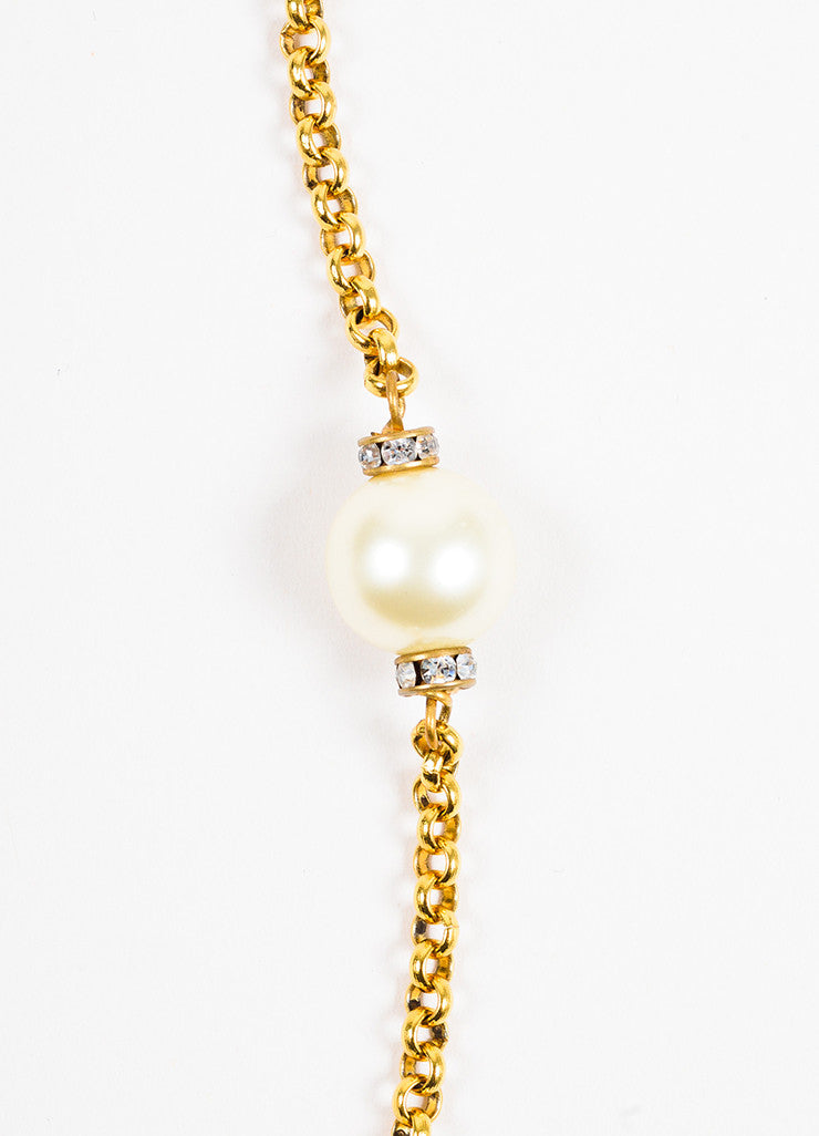 Chanel Gold Toned Metal Faux Pearl Crystal Strand Necklace Detail 2