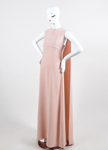 Light Pink Valentino Silk Sleeveless Floor Length Cape Back Evening Gown Sideview