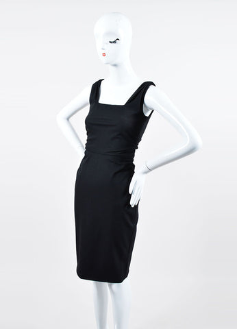Black Valentino Techno Couture Side Ruched Square Neck Sleeveless Dress Sideview