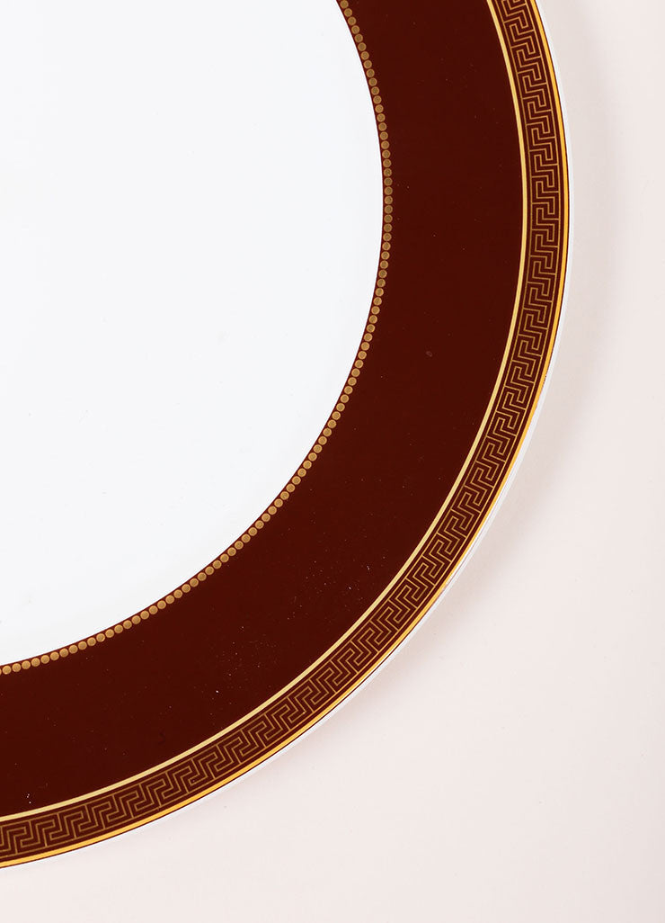 "Versace Rosenthal Brown and Gold Toned ""Medaillon Meandre Marron"" 12 inch Service Plate Detail"
