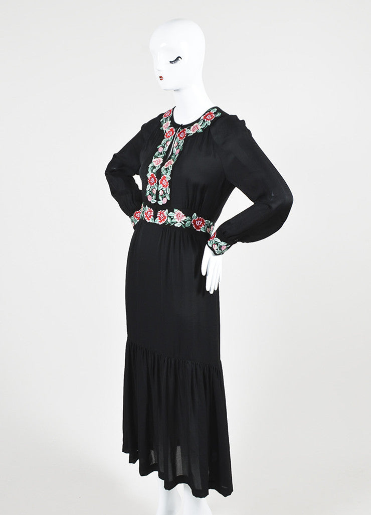 "Black Vilshenko Silk Red Floral Embroider ""Azita"" Long Sleeve Midi Dress Sideview"