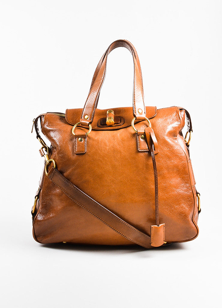 "Cognac Brown Yves Saint Laurent Glossy Leather ""Muse Messenger"" Bag Front"
