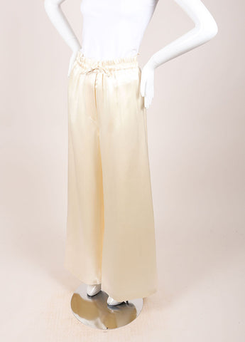 Karl Lagerfeld Cream Silk Wide Leg Pants Sideview