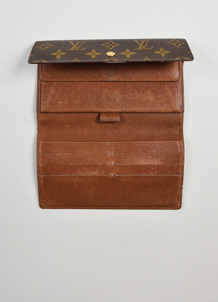 "Brown and Tan Louis Vuitton Monogram ""Porte-tresor International"" Long Wallet Interior"