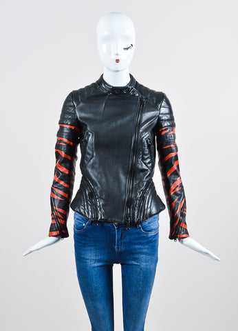 "Black and Red 3.1 Phillip Lim Leather ""Tiger"" Striped Quilted Moto Jacket Frontview 2"