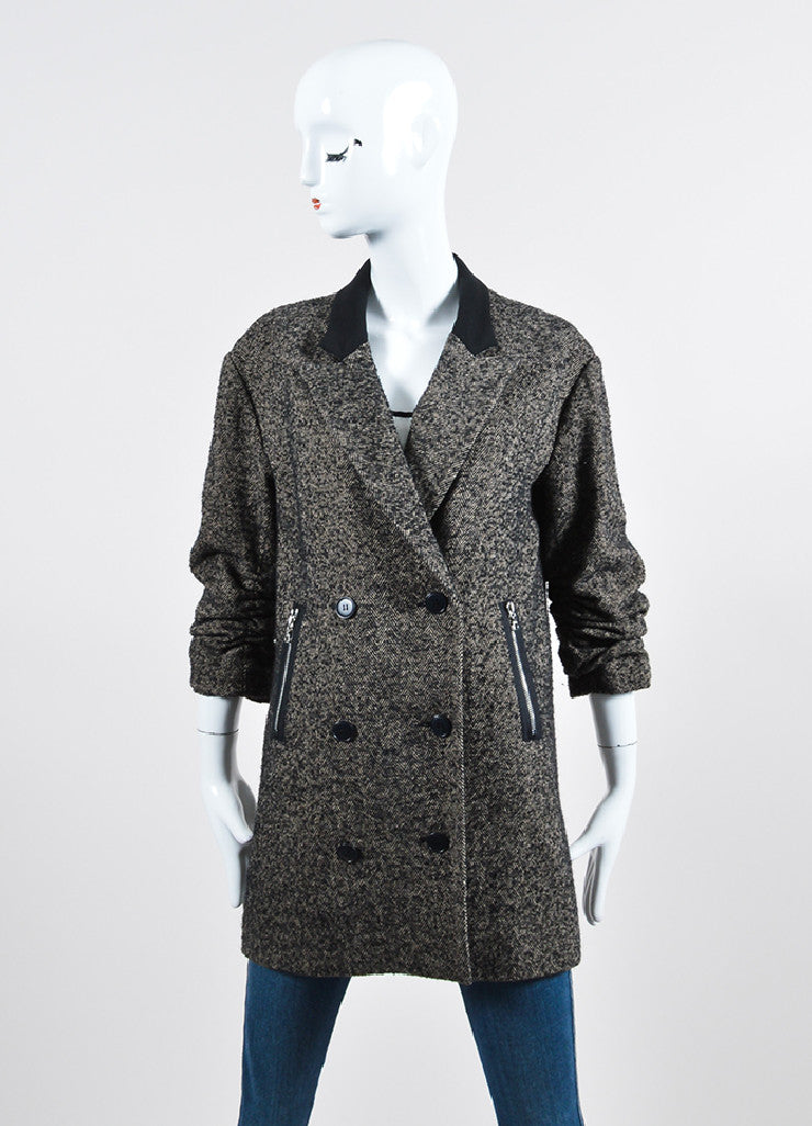 Alexander Wang Black and Grey Wool and Alpaca Blend Herringbone Coat Frontview 2