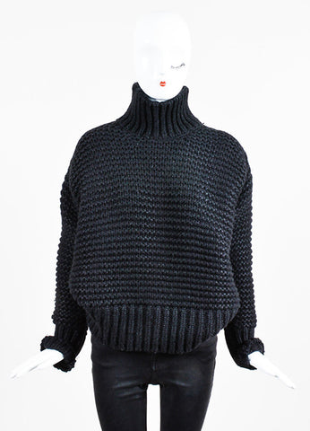 "Black Ann Demeulemeester Silk Blend Knit ""Homey"" Sweater Frontview"
