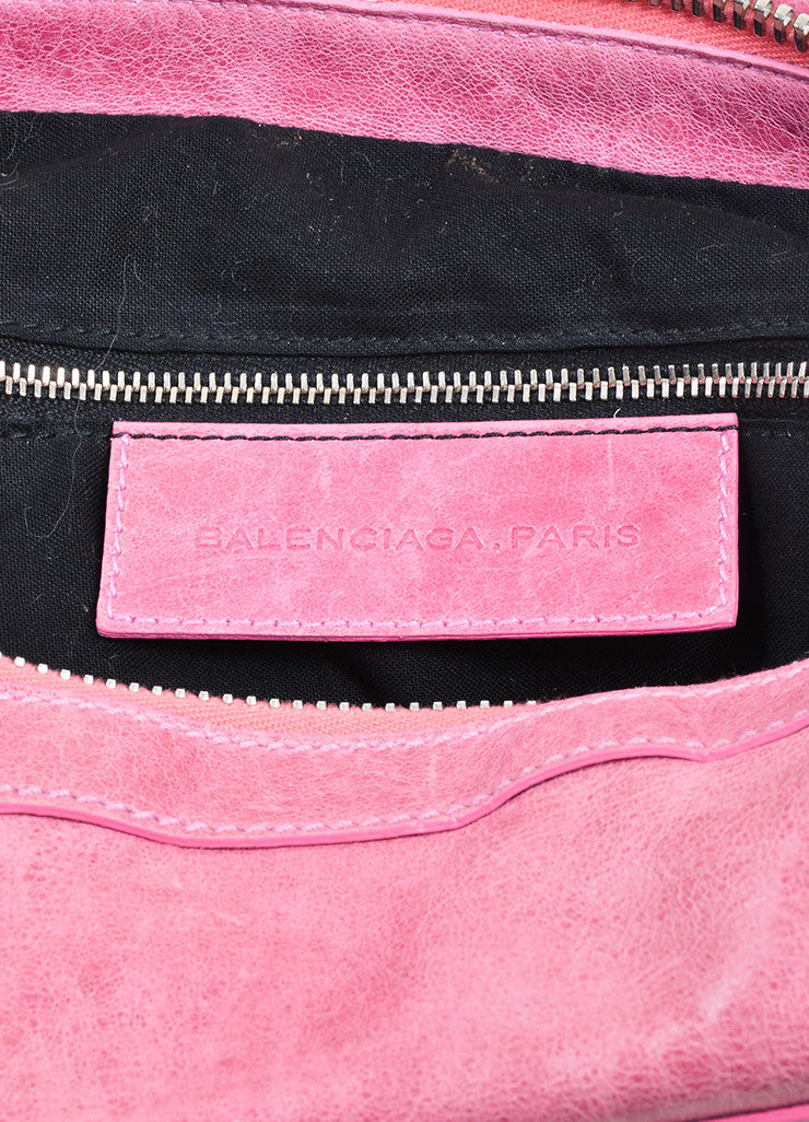 "Pink Balenciaga Leather ""Motocross Giant 21"" Hobo Bag Brand"