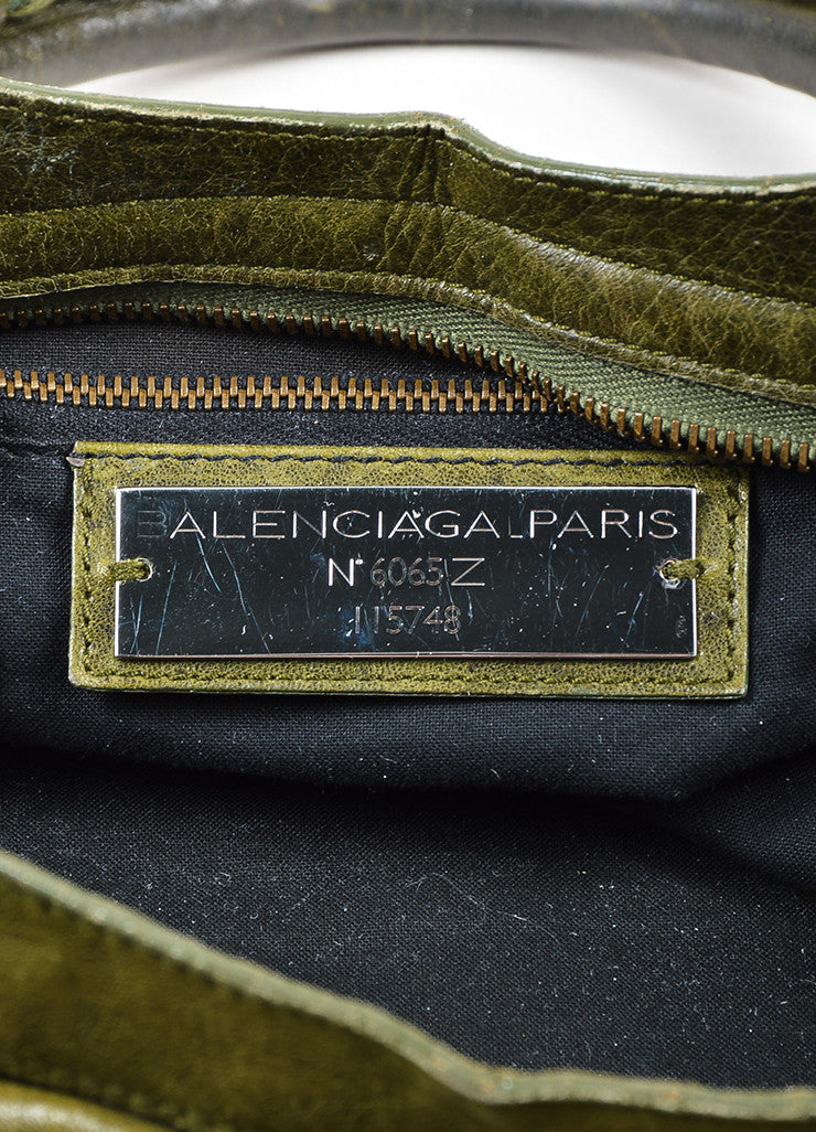 "Green Balenciaga ""Motocross Classic City"" Distressed Leather Satchel Bag Brand"