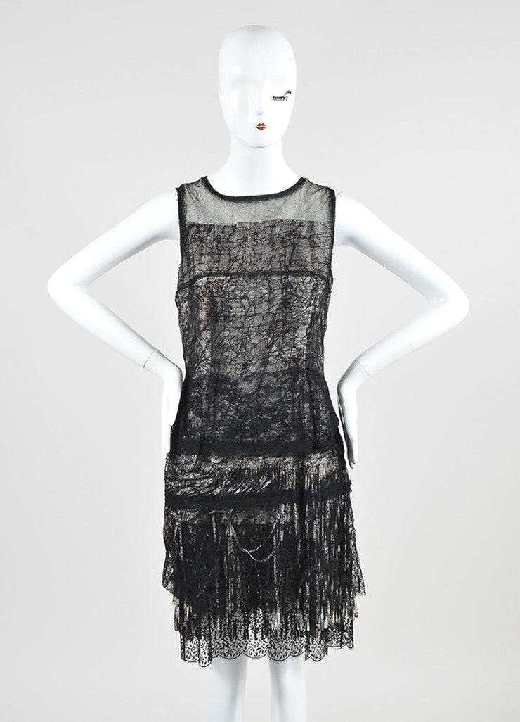 Black, Off White, and Purple Bottega Veneta Lace and Mesh Abstract Print Fringe Dress Frontview
