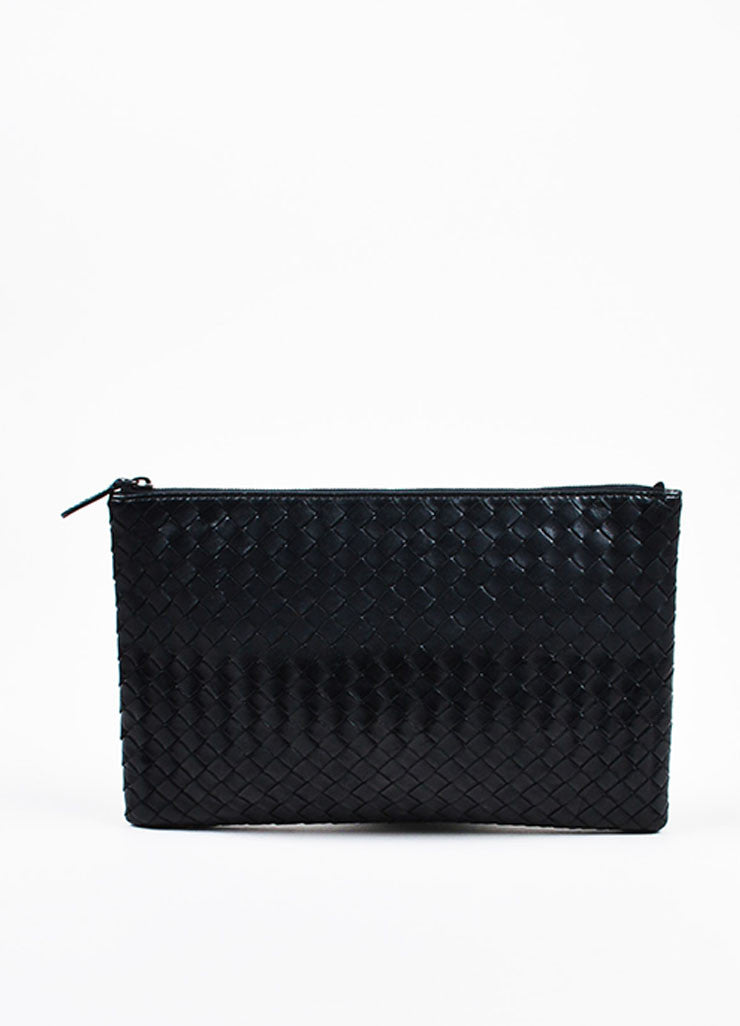 "Bottega Veneta Matte and Metallic Black ""Intrecciato"" Nappa Leather Zipped Pouch Bag Frontview"