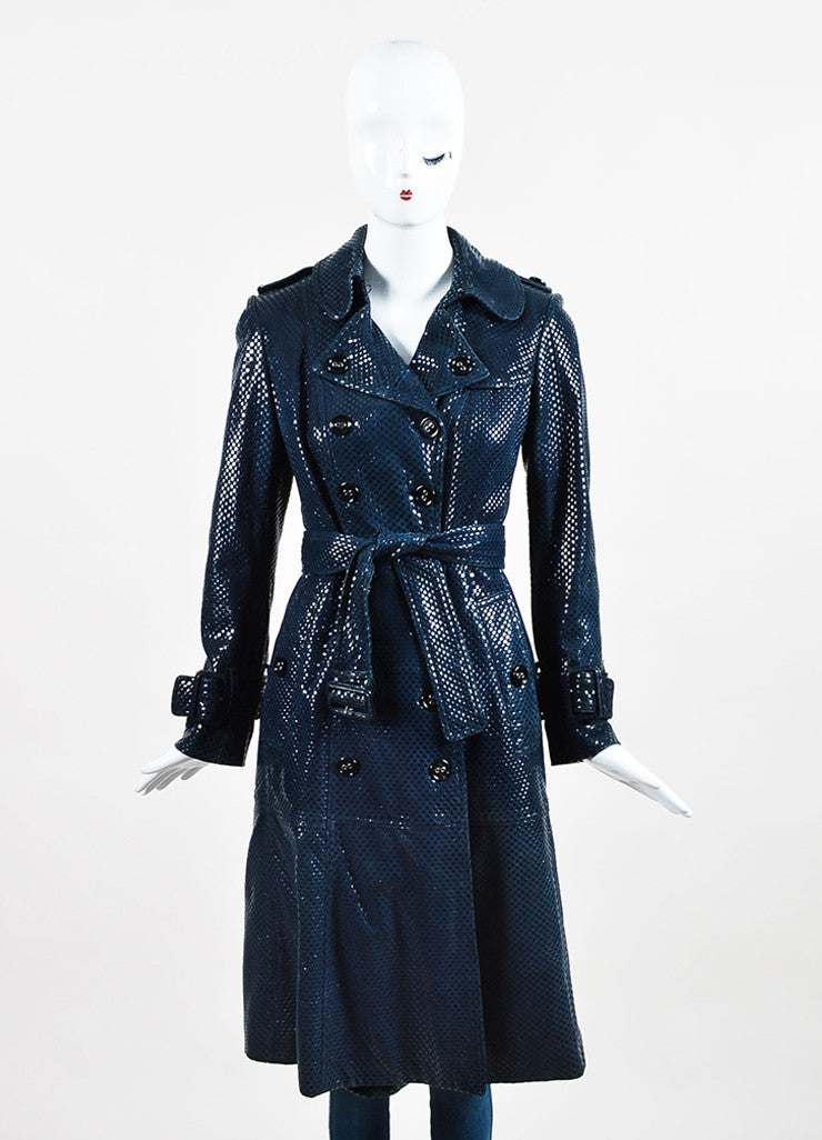 Navy Blue Patent Leather Check Belted Double Breasted Trench Coat