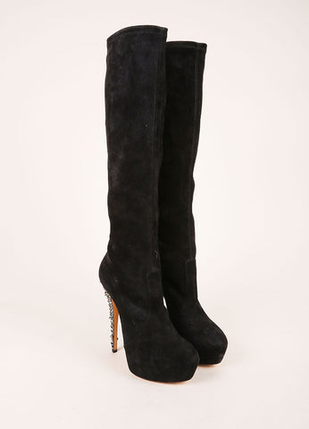 Casadei New Black and Grey Sparkly Studded Heel Knee High Suede Leather Boots Frontview