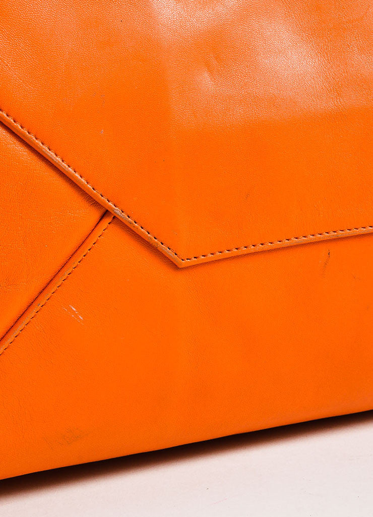 "Celine Orange Leather ""Horizontal Gusset Cabas"" Tote Bag Detail 2"