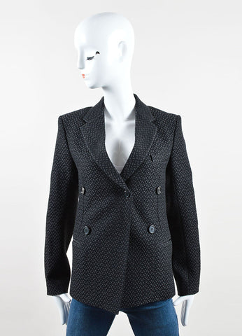 Celine Black Cotton Woven Brocade Long Sleeve Blazer Jacket Front