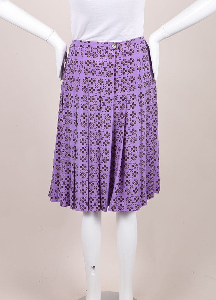 "Chanel Lavender Purple and Brown Silk Clover ""CC"" Logo Pleated Skirt Backview"