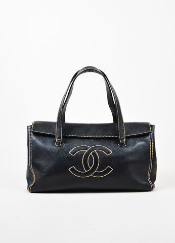 Chanel Black Caviar Leather Contrast Stitch Trim 'CC' Flap Shoulder Tote Bag front