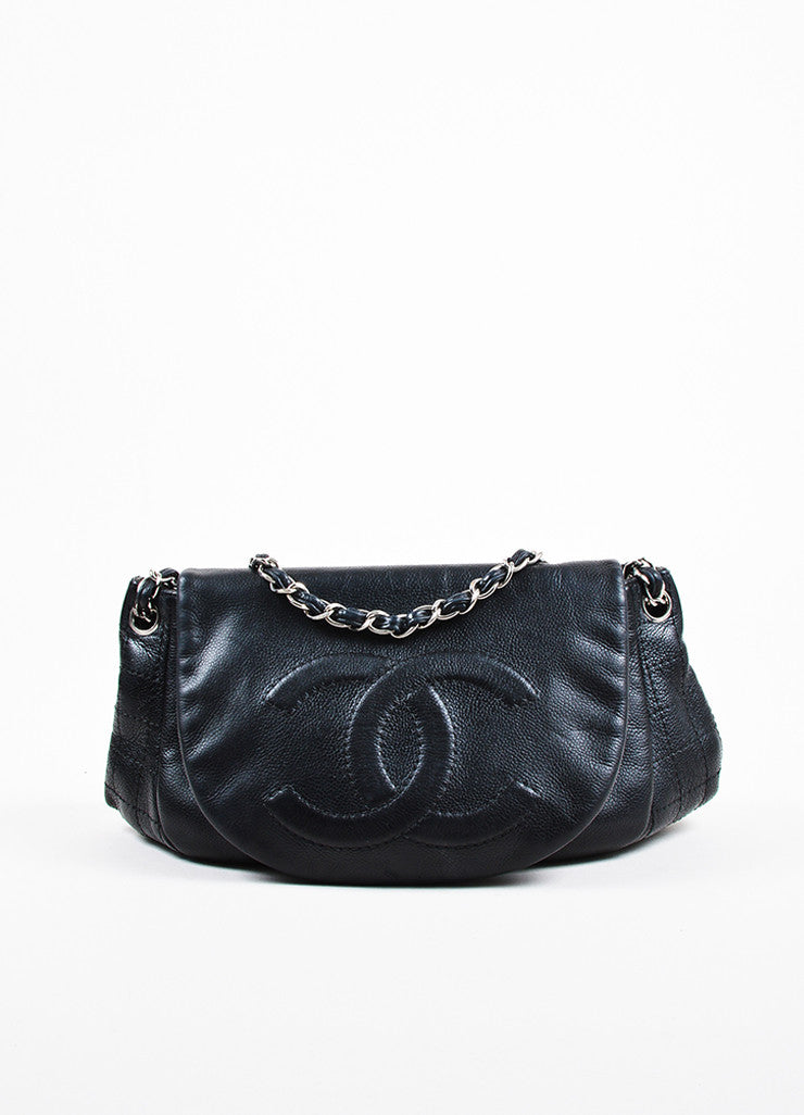 "Chanel Black Caviar Leather Interwoven Chain Quilted ""Half Moon"" Flap Bag Frontview"