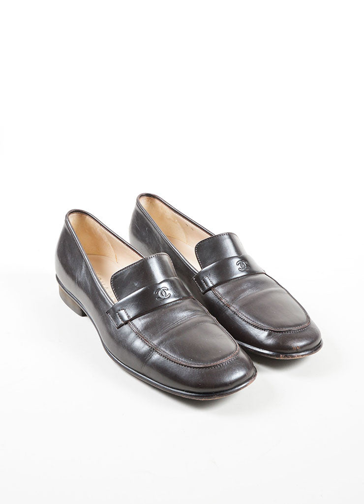 "Brown Leather Chanel ""CC"" Logo Squared Toe Slip On Loafers Frontview"