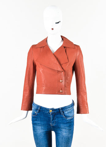 Chanel Orange Calfskin Leather Top Stitched 'CC' Button Moto Jacket Front