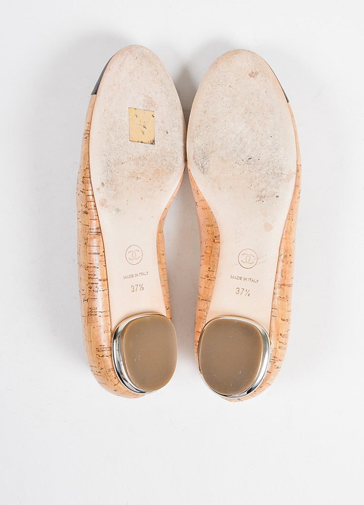 Tan, Black, and Silver Toned Chanel Cork and Leather Cap Toe Ballerina Flats Outsoles